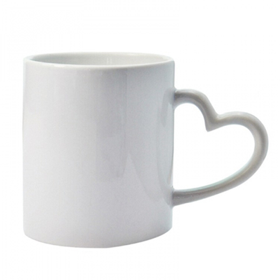 11oz Heart Handle White Mug